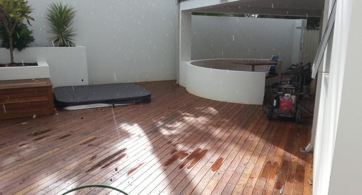 modern kitchen and decking