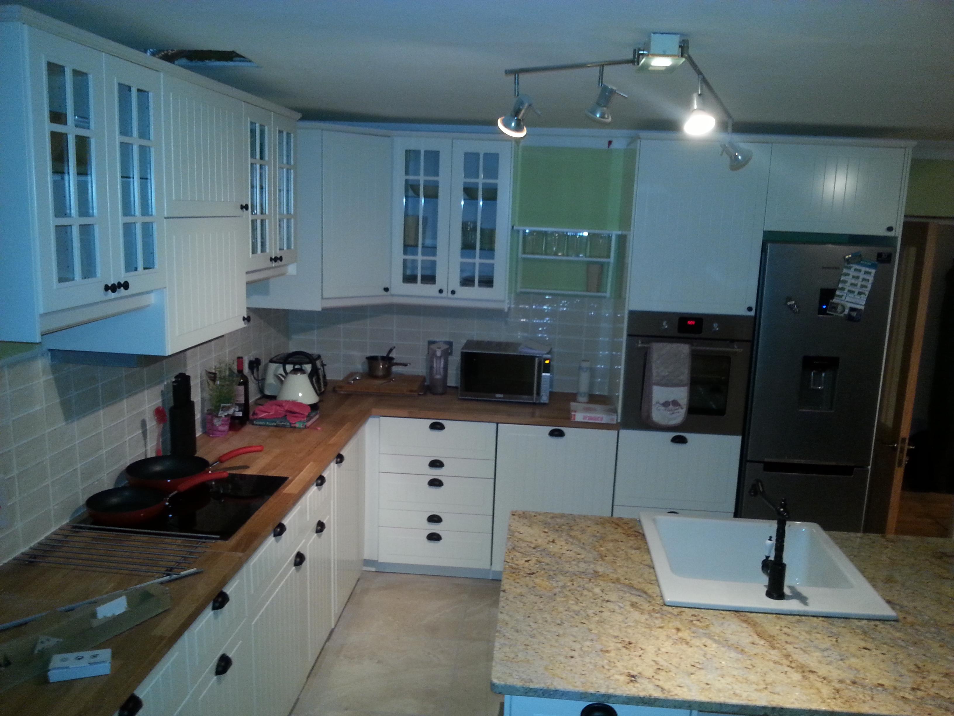 White Kitchen Granite Island Worktop - Enniskerry Wicklow New Kitchen